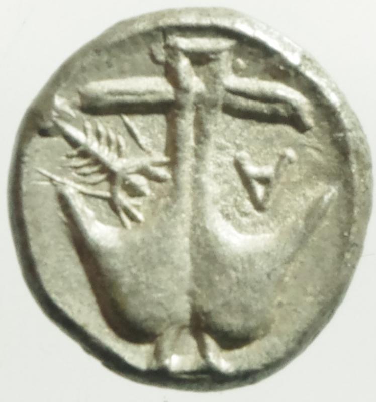 reverse: Mondo Greco. Tracia. Apollonia Pontica. 450-400 a.C. Diobolo. D/ Testa di Gorgone. R/ Ancora, A e gambero. Sear 1655. Peso 1.20 gr. Diametro 11,00 mm. SPL+.