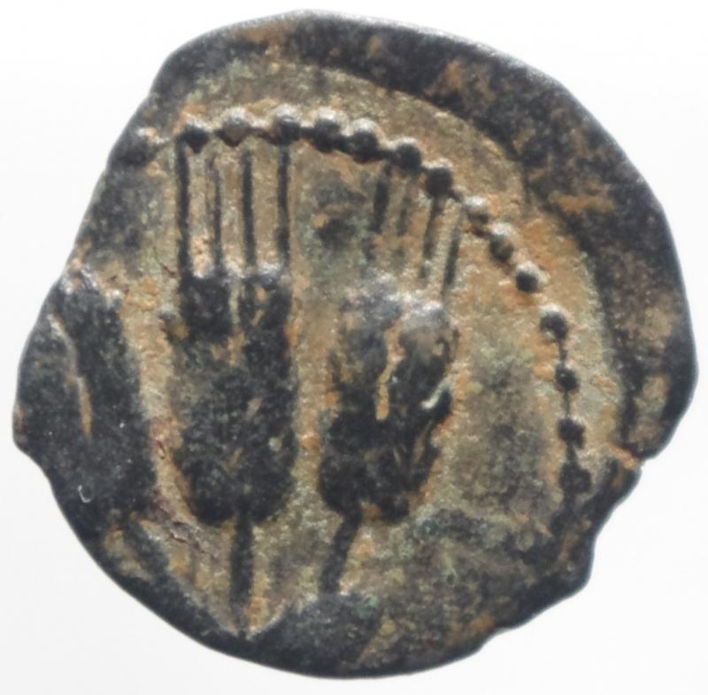 reverse: Mondo Greco.Giudea.Jerusalem. Erode Agrippa (37-44). AE Prutah . Peso 2,10 gr.Diametro 18 mm.BB+. NC.