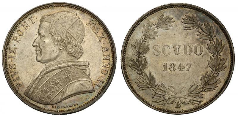 obverse: Bologna, Pio IX, Scudo 1847-B anno II, Rara Ag mm 38 migliore di SPL