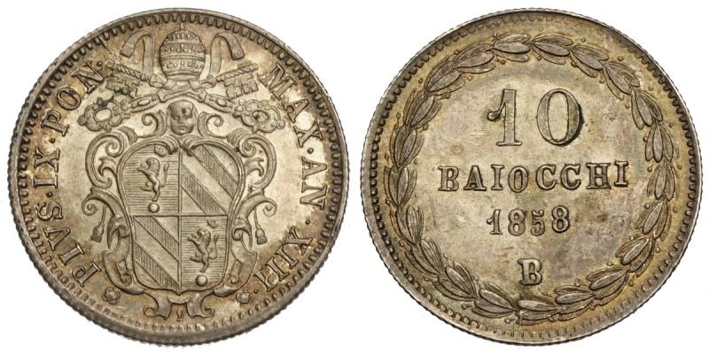 obverse: Bologna, Pio IX, 10 Baiocchi 1858-B anno XIII, RR Ag mm 21 alta qualità, q.FDC