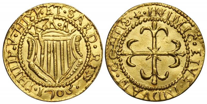 obverse: Cagliari, Filippo V di Spagna, Scudo d oro 1703, RR Au mm 22 g 3,13 alta conservazione, q.FDC