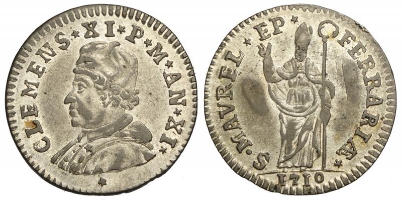 obverse: Ferrara, Clemente XI, Muraiola da 4 Baiocchi 1710 anno XI, Rara Mi mm 23 g 3,05 SPL
