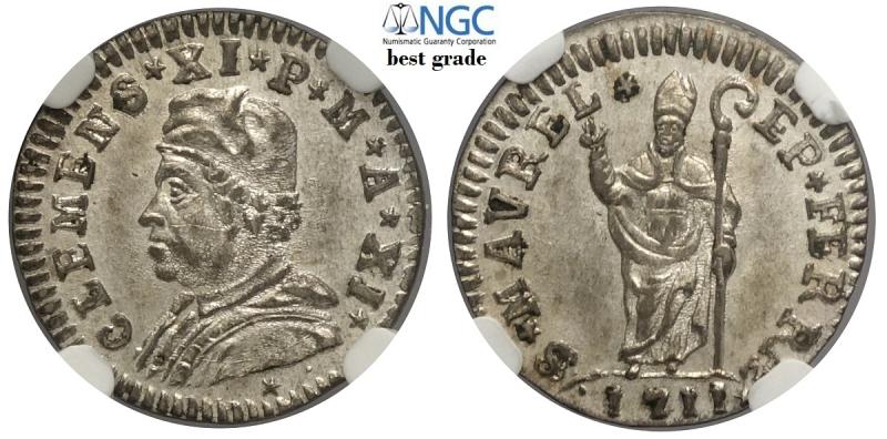 obverse: Ferrara, Clemente XI, Muraiola da 2 Baiocchi 1711 anno XI, Rara Mi mm 19 conservazione inusuale per il tipo, in slab NGC MS63 (miglior esemplare sigillato NGC)