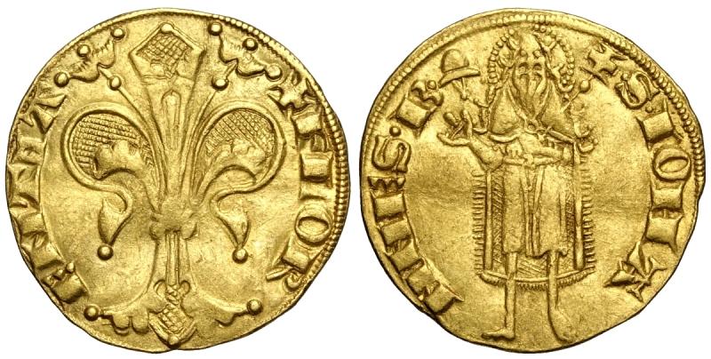 obverse: Firenze, Repubblica, Fiorino d oro (1267-1303), Rara MIR-4/23 Au mm 20 g 3,49 modesta ondulazione, migliore di SPL
