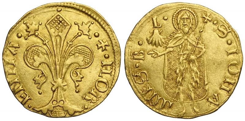 obverse: Firenze, Repubblica, Fiorino d oro largo 1463 I Semestre, Lorenzo di Nerio di Angelo Vettori, Rara MIR-27/5 Au mm 22 g 3,49 modesta ondulazione q.SPL