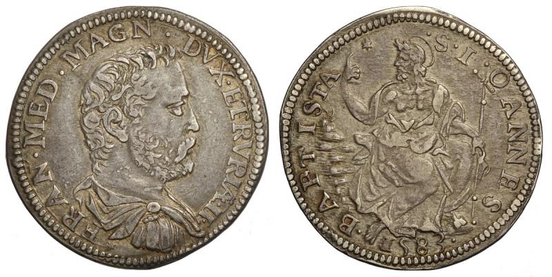 obverse: Firenze, Francesco I Dè Medici, Testone 1583, RR Ag mm 32 g 9,13 qualità superiore alla media, buon BB-SPL