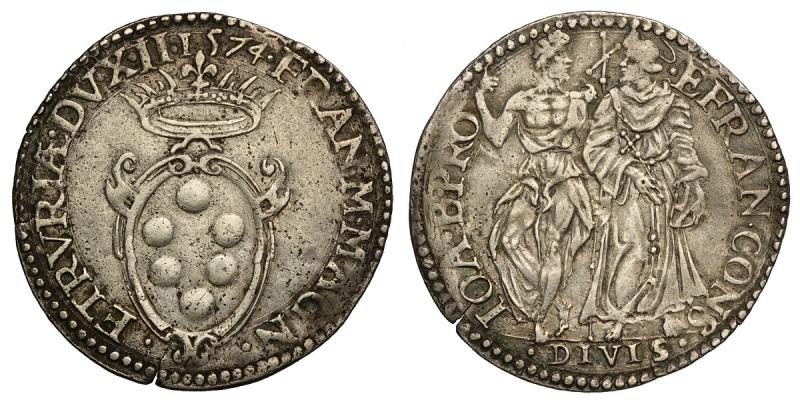 obverse: Firenze, Francesco I Dè Medici, Giulio 1574, RRR Ag mm 28 g 3,04 Rarissima, BB-SPL