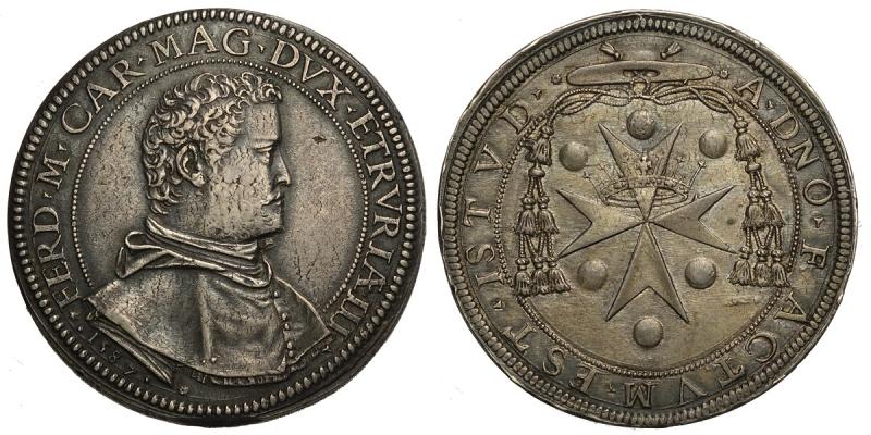 obverse: Firenze, Ferdinando I Dè Medici, Piastra 1587, Rara Ag mm 43 g 32,39 graffietti al dritto, il rovescio protetto dai bordi è rimasto splendidamente conservato, BB-SPL