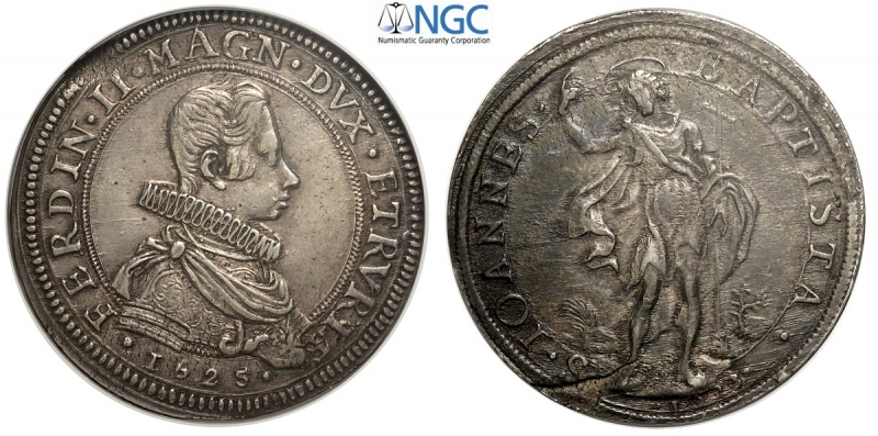 obverse: Firenze, Ferdinando II Dè Medici, Piastra 1625//1623, RR Ag mm 43 sfogliatura al rovescio, in slab NGC AU58