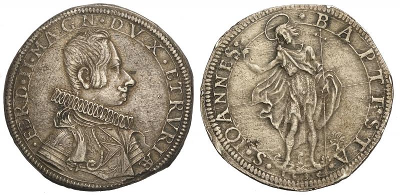 obverse: Firenze, Ferdinando II Dè Medici, Piastra 1635, RR Ag mm 44 g 32,36 minime tracce di montatura ma ottimo esemplare, SPL