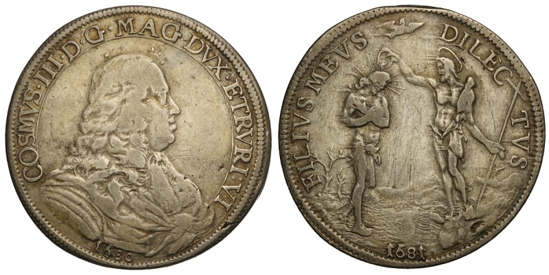 obverse: Firenze, Cosimo III Dè Medici, Piastra d argento 1680//1681, RR Ag mm 44 g 30,57 MB-BB