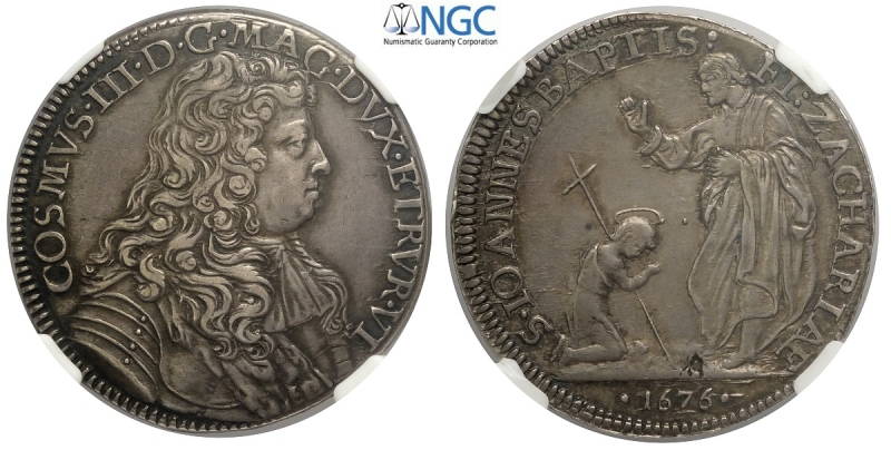 obverse: Firenze, Cosimo III Dè Medici, Mezza Piastra d argento 1676, RR Ag mm 37,5 in slab NGC AU55