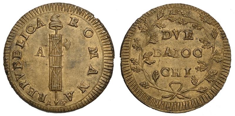obverse: Ancona, Prima Repubblica Romana (1798-1799), 2 Baiocchi s.d. AP, Cu mm 35 conservazione particolare per la tipologia, FDC