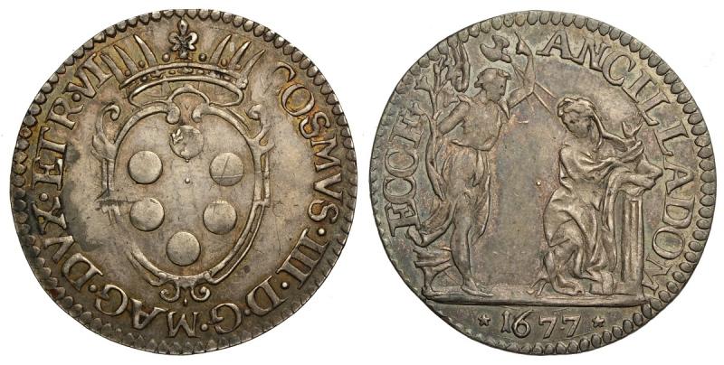 obverse: Firenze, Cosimo III Dè Medici, Giulio 1677, Rara Ag mm 25 g 2,94 di alta conservazione con bellissima patina multicolore su fondi lucenti, SPL-FDC
