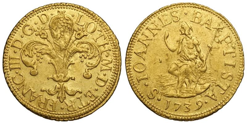 obverse: Firenze, Francesco II di Lorena, Fiorino d oro 1739, RR Au mm 21 g 3,49 q.SPL