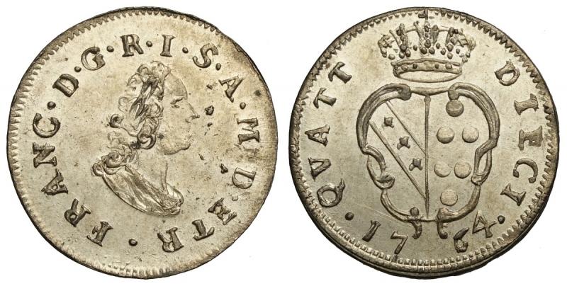 obverse: Firenze, Francesco II di Lorena, 10 Quattrini da 2 Crazie 1764, Rara Mi mm 20 g 1,80 conservazione eccezionale con piena argentatura, q.FDC-FDC