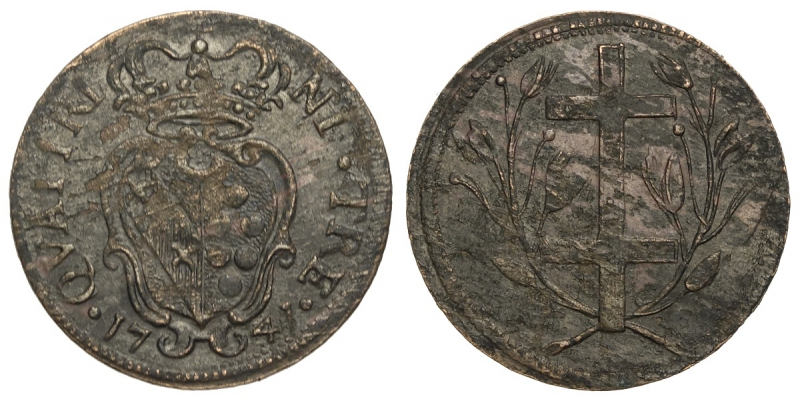 obverse: Firenze, Francesco II di Lorena, Soldo da 3 Quattrini 1741, RR Cu mm 21 g 1,94 di qualità già inusuale per questa rara tipologia difficilmente reperibile in buono stato conservativo, BB-SPL