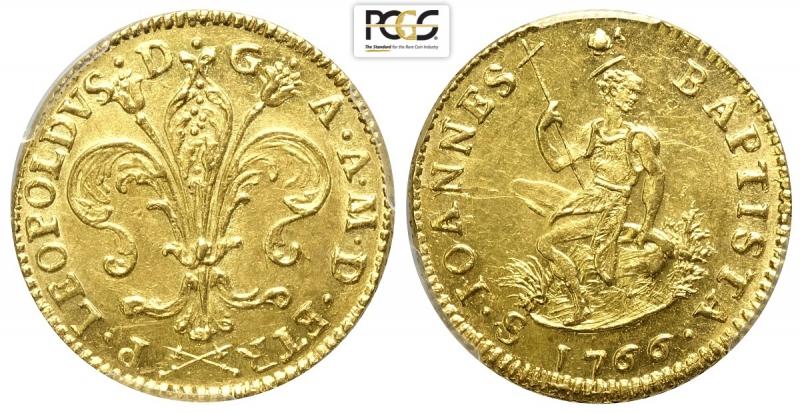 obverse: Firenze, Pietro Leopoldo di Lorena, Ruspone 1766, RR Au mm 27 esemplare di ottima conservazione, nella collezione