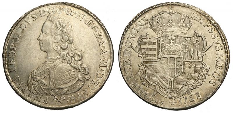 obverse: Firenze, Pietro Leopoldo di Lorena, Francescone o Scudo da 10 Paoli 1768 con busto a sinistra, Rara Ag mm 42 g 27,23 ottimo esemplare, SPL