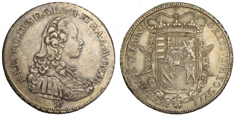obverse: Firenze, Pietro Leopoldo di Lorena, Francescone o Scudo da 10 Paoli 1773, Rara Ag mm 41 g 27,33 di alta conservazione e bella patina, SPL-FDC