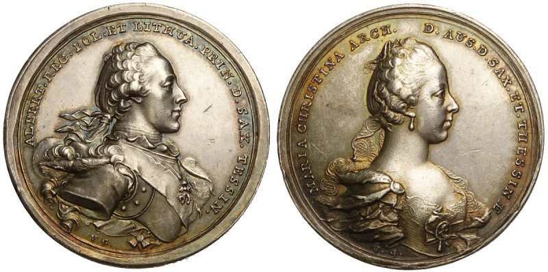 obverse: Austria Medal for the marriage of Maria Cristina Asburgo and Alberto Sassonia Teschen 1766, opus V.G. RR Ag mm 41 g 26 SPL