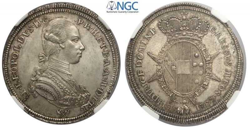 obverse: Firenze, Pietro Leopoldo di Lorena, Mezzo Francescone o Scudo da 5 Paoli 1787, RR MIR-387 Ag mm 34 conservazione eccezionale, in slab NGC MS64+