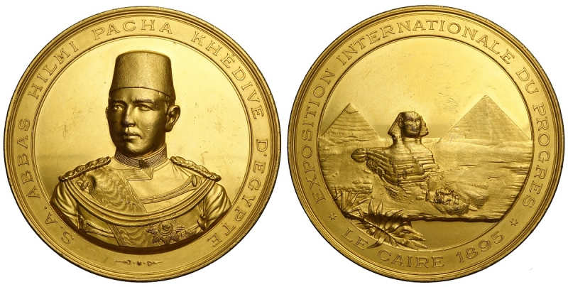 obverse: Egypt Medal for the international exposition of Il Cairo 1895, opus Johnson, RRR Ae dorato, mm 67 g 156 migliore di SPL