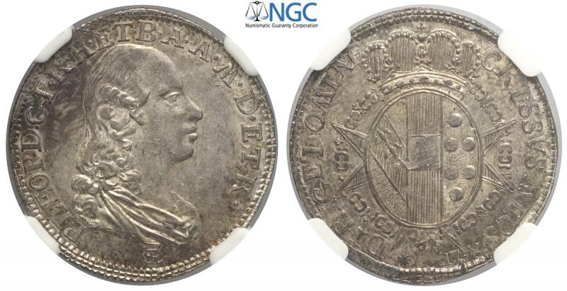 obverse: Firenze, Pietro Leopoldo di Lorena, Paolo 1789, Rara Ag mm 23 alta conservazione, in slab NGC MS62 (secondo miglior esemplare sigillato NGC)