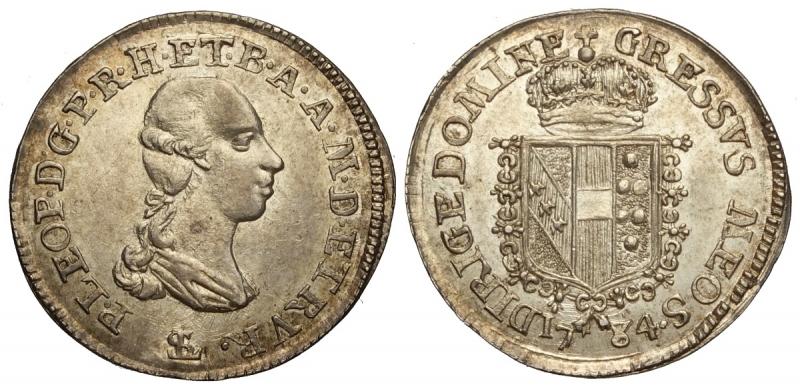 obverse: Firenze, Pietro Leopoldo di Lorena, Mezzo Paolo 1784, RR Ag mm 18 g 1,32 SPL-FDC