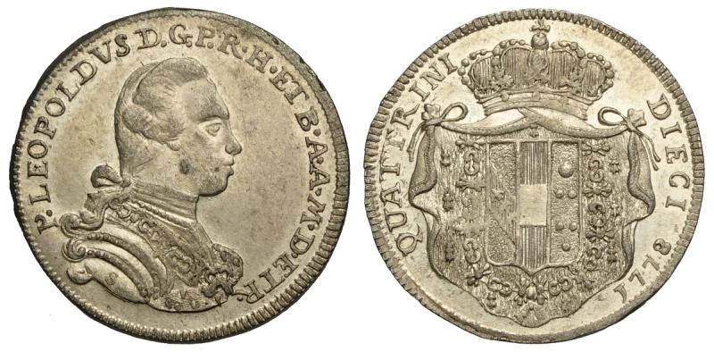 obverse: Firenze, Pietro Leopoldo di Lorena, 10 Quattrini da 2 Crazie 1778, Rara Mi mm 19 g 2,18 conservazione inusuale con piena argentatura, SPL-FDC