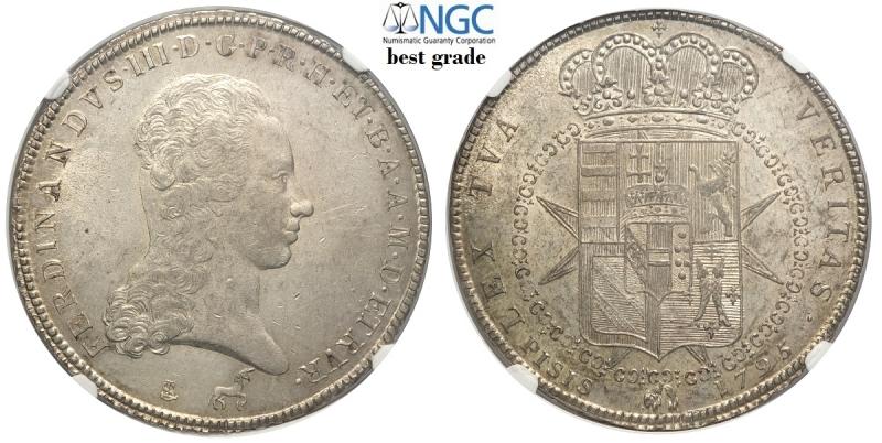 obverse: Firenze, Ferdinando III di Lorena, Francescone da 10 Paoli 1795, Gig-27a Ag mm 41 ottimo esemplare, SPL-FDC, in slab NGC MS61 (miglior esemplare sigillato NGC)