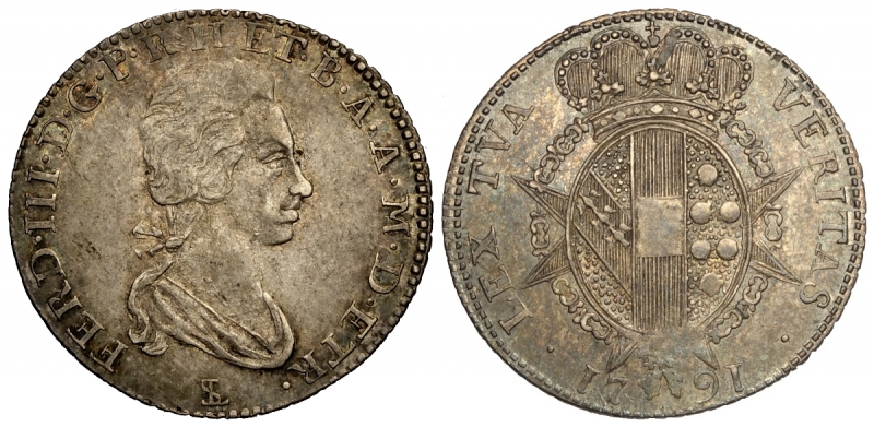 obverse: Firenze, Ferdinando III di Lorena, Paolo da 8 Crazie 1791, variante con la testa grande, Ag mm 24 g 2,63 bella patina, SPL