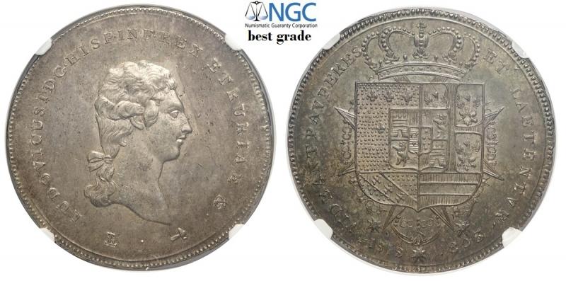 obverse: Firenze, Ludovico I di Borbone, Francescone da 10 Paoli 1803, Gig-8 conservazione da ritenersi eccezionale per la tipologia, in slab NGC MS63 (miglior esemplare sigillato NGC)