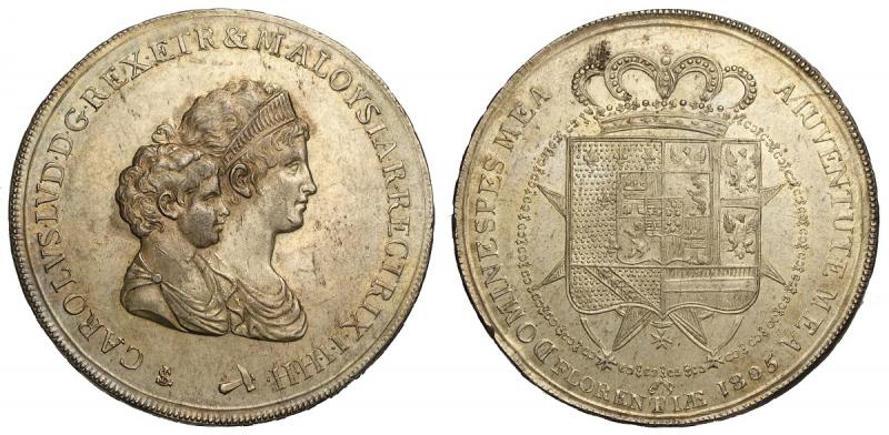 obverse: Firenze, Carlo Ludovico di Borbone, Dena da 10 Lire Fiorentine 1805, Ag mm 45 ottimo esemplare, migliore di SPL