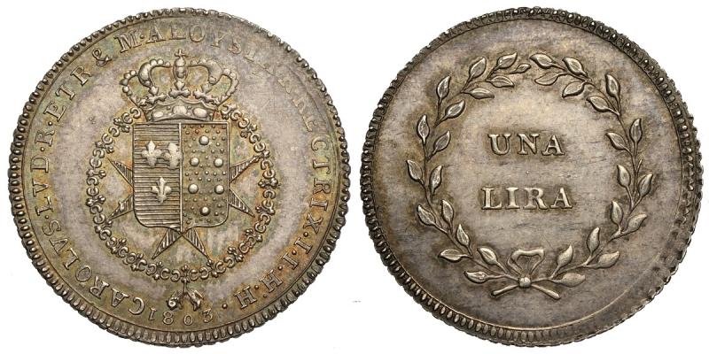 obverse: Firenze, Carlo Ludovico di Borbone, Lira 1803, Ag mm 25,5 bella patina, SPL-FDC