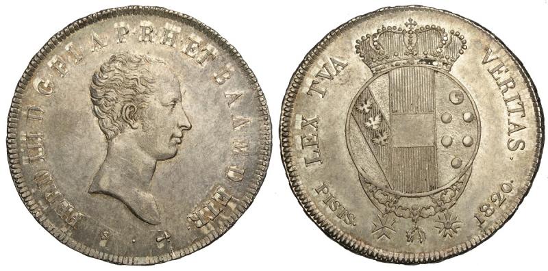 obverse: Firenze, Ferdinando III di Lorena, Mezzo Francescone da 5 Paoli 1820, Ag mm 32 bellissima patina, migliore di SPL