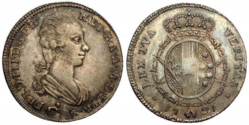 obverse: Firenze, Ferdinando III di Lorena, 2 Paoli da 16 Crazie 1791, Ag mm 27 g 5,46 bellissima patina, SPL