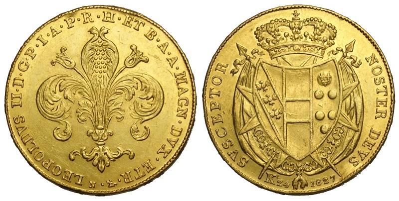 obverse: Firenze, Leopoldo II di Lorena, 80 Fiorini 1827, Au mm 31 un paio di colpi al bordo ripresi altrimenti migliore di SPL