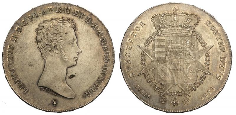 obverse: Firenze, Leopoldo II di Lorena, Francescone da 10 Paoli 1839, Ag mm 41 piccola sfogliatura di metallo al dritto altrimenti esemplare eccezionale, q.FDC