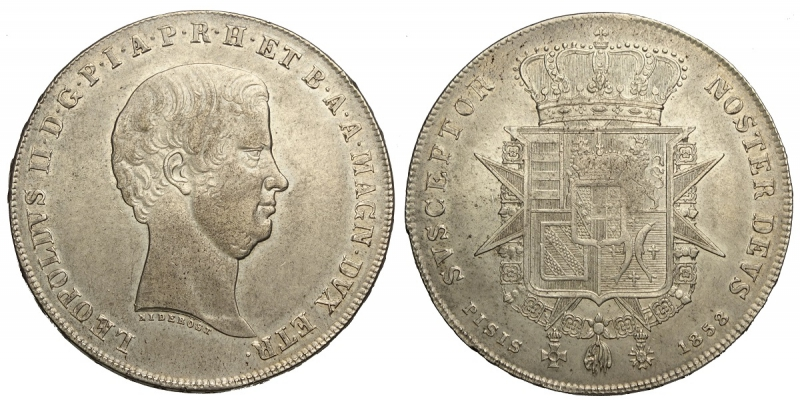 obverse: Firenze, Leopoldo II di Lorena, Francescone da 10 Paoli 1858, Ag mm 41 BB-SPL