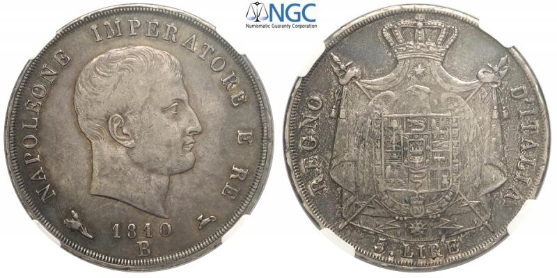 obverse: Bologna, Napoleone I Re d Italia, 5 Lire 1810-B del secondo tipo, RRRR Ag mm 37 millesimo di estrema rarità, bella patina, in slab NGC AU53