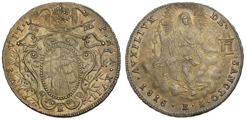 obverse: Bologna, Pio VII, Doppio Giulio 1818-B anno XVII, Rara Ag mm 26 bellissima patina, q.FDC