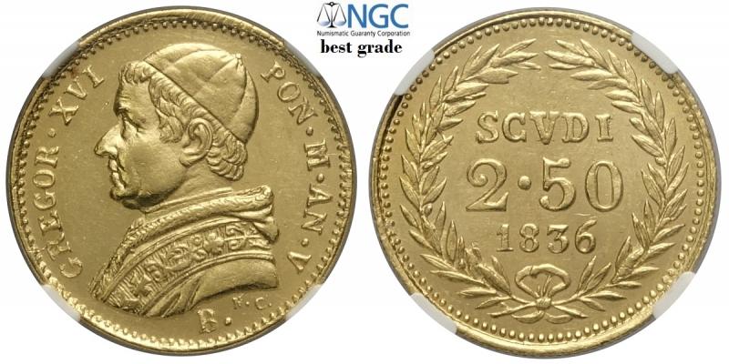 obverse: Bologna, Gregorio XVI, 2,50 Scudi 1836-B anno V, RR Au mm 19 alta conservazione per la tipologia con fondi lucenti, in slab NGC MS63 (miglior esemplare sigillato NGC)