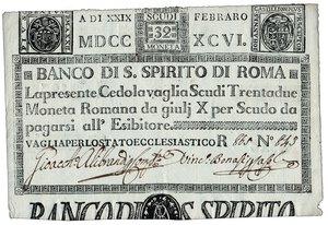obverse: BANCO di SANTO SPIRITO - Roma - Cedola da 32 Scudi