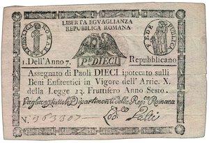 obverse: REPUBBLICA ROMANA - Assegnato da 10 Paoli.