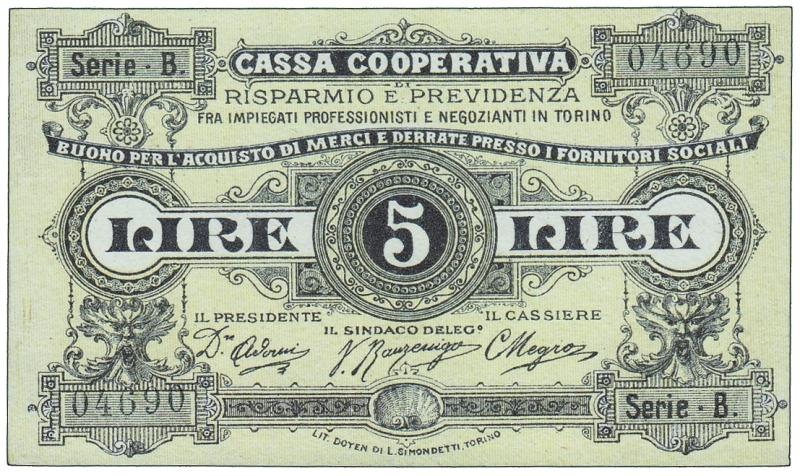 obverse: CASSA COOPERATIVA DI TORINO - Buono per 5 Lire