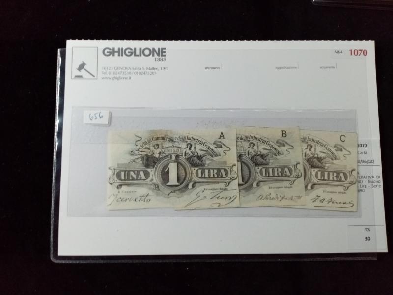 obverse: LOTTO di 3 biglietti fiduciari Commercio e Industria Genovese da 1 Lira