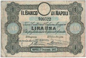 obverse: BANCO DI NAPOLI - Fede di Credito da 1 Lira serie M-Z 09322
