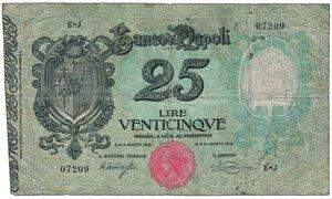 obverse: BANCO DI NAPOLI - 25 Lire decr 17/08/1918