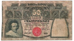 obverse: BANCO DI NAPOLI - 50 Lire 30/12/1909